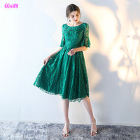 Glamorous Hunter Evening Dress 2017 Scoop Lace Half Sleeve Knee Length Lady Evening Gowns Short Party