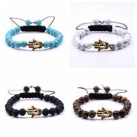 10PCS Handmade new Fashion Zinc Alloy Resin Stone Seed Beads Gold Hamsa Hand Bangles Leather Women Bracelet Jewelry