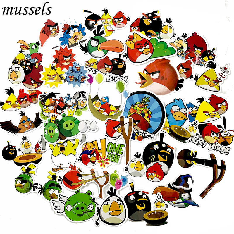100 Pcs Cartoon Game Series Angry Red Bird  Birds Toy Sticker Forskateboard Guitar Motorcycle DIY Luggage Truck