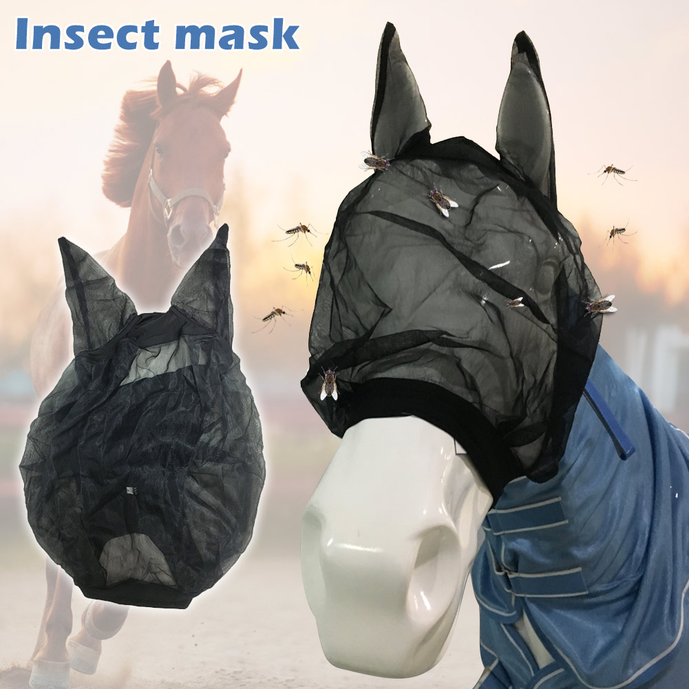Horse Detachable Mesh Mask With Nasal Quiet Ride Anti Fly Mask With Ears Accessories For Mule Donkey Anti-mosquito Nose Zipper