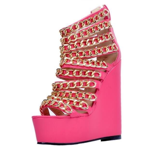 Gold Metal Chains Wedge Sandal Women Peep toe Height Increasing Gladiator Sandal Boots Pink Leather High Platform Dress Shoes недорго, оригинальная цена