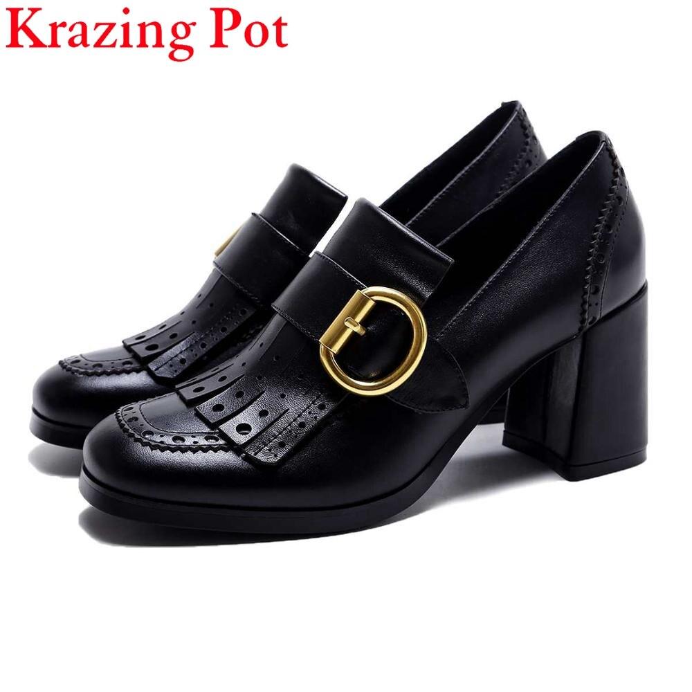 2019 Fashion Women Brand Shoes High Heel Genuine Leather Metal Buckle Tassel Hollow Slip on Women