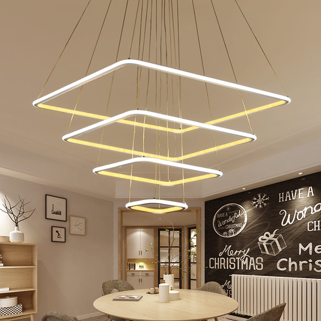 Buy 2017 new square modern led pendant - Lamparas salon modernas ...