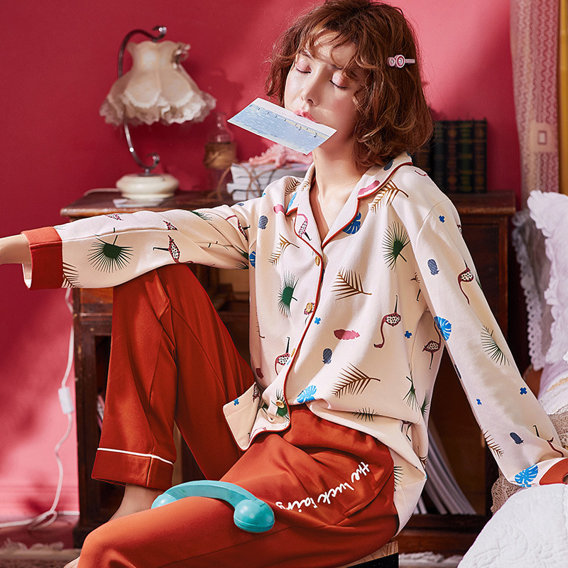 2018 Autumn Winter Pure Cotton Sexy Pyjama Women's   Pajama     Sets   Night Leisure Long Sleeved Pants Woman Nightgowns Loung Plus Size