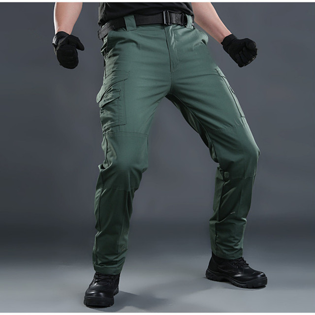 c648291249ea0 Men pockets army fan tactical pants can put knee pad outdoor sports  training climbing hiking combat elastic waist long trousers
