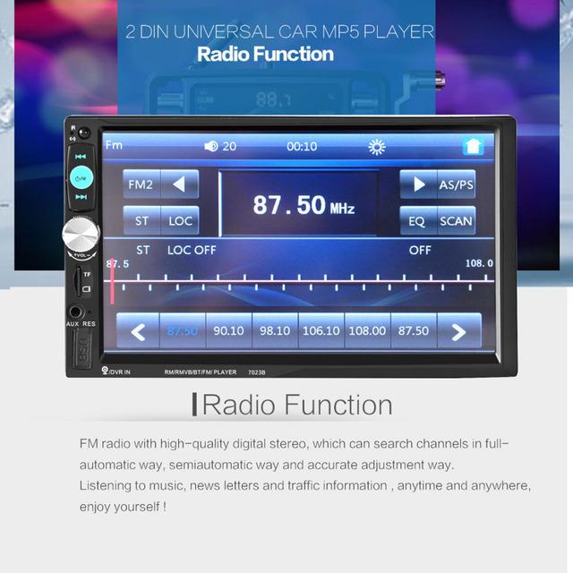 7 Polegada HD Touchscreen Bluetooth Rádio Estéreo Do Carro In-Dash 2 DIN FM MP5 Player + 420 Linhas de TV Câmera do IR