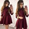 Women Dress Fall 2018 Fashion Solid Vintage Elegant Mini Dress Autumn Bow Causal Christmas Party Dresses Plus Size