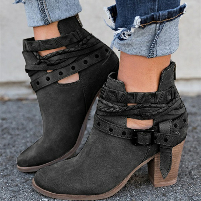 Ankle Boots Suede Leather Casual High Heels Fashion Square Rubber Khaki Buckle Strap Shoes For Women Summer Boots Size 34-43 3