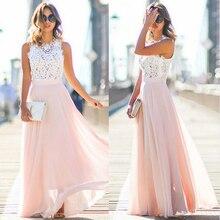 41d08dfd0c Nowa elegancka szyfonowa formalna suknia ślubna druhna długi Party Ball  suknia bez rękawów damskie długie suknie