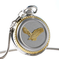 2016 New Arrival Golden Eagle Silver Case Design With Roman Number Dial Fob Pocket Watch With