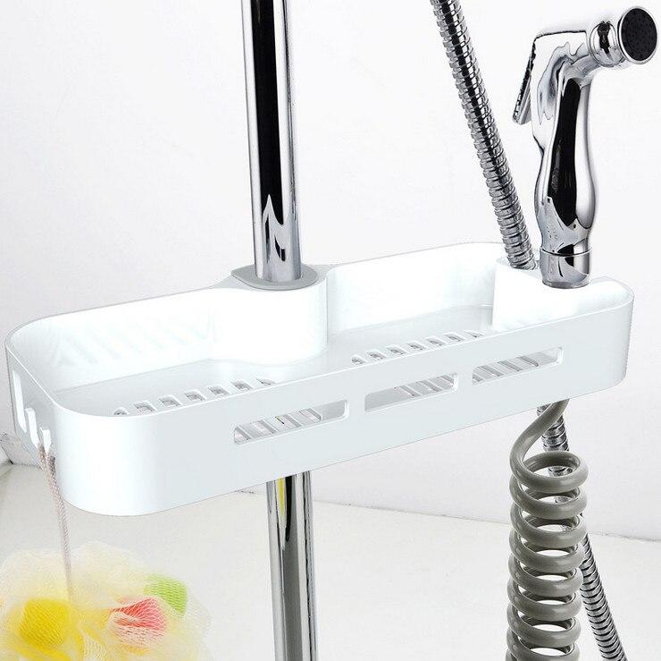 Bathroom Pole Shelf Shower Storage Caddy Rack Organiser Tray Holder ...