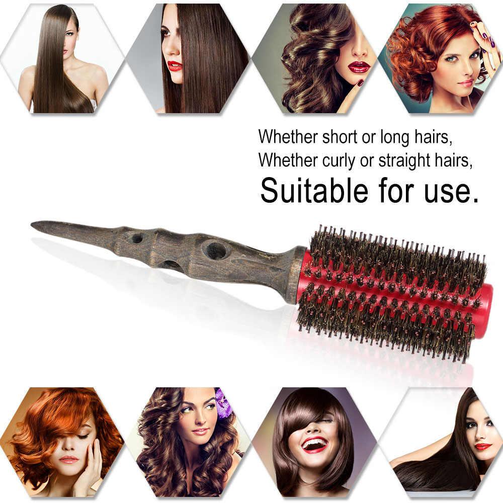イノシシ毛毛ブラシローラー非スリップ木製ハンドルラウンド櫛ウェットのためのサロンヘアスタイリングツール