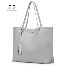 Fashion Casual Shoulder Bags For Women 2017 PU Leather Tote Bag With Tassel Large Capacity Solf Hasp Single Shoulder Woman Bag