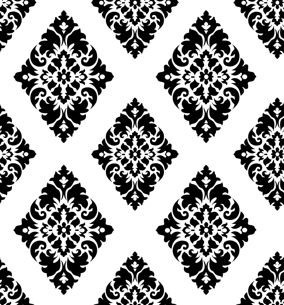 HaokHome Vintage Floral Damask Peel and Stick Wallpaper diamond Black/White Self Adhesive Contact Paper living room home decor карабин black diamond black diamond rocklock twistlock