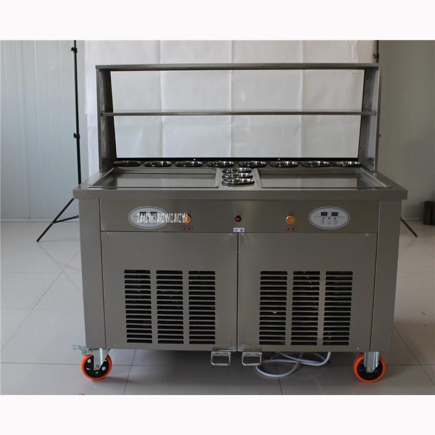 Haushaltsgeräte Shpping Durch Meer Heißen Verkauf Doppel Pan Rühren Fried Eis Maker/snack Maschine Kalt Eismaschine 220 V/50hz 24-28l/h