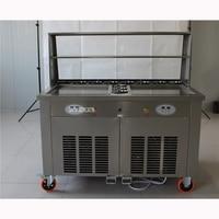 Wysyłka drogą morską gorąca sprzedaży podwójna patelnia mieszać smażone lody ekspres/maszyna z przekąskami zimna maszyna do lodów 220 V/50Hz 24 28L/H w Maszyny do lodu od AGD na