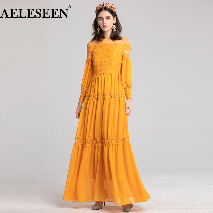 AELESEEN Vestido largo de encaje de Nuevo Fiesta de Primavera de 2019, las mujeres de encaje apliques florales linterna Maxi vestido, vestido de naranja negro XXL-in Vestidos from Ropa de mujer    1