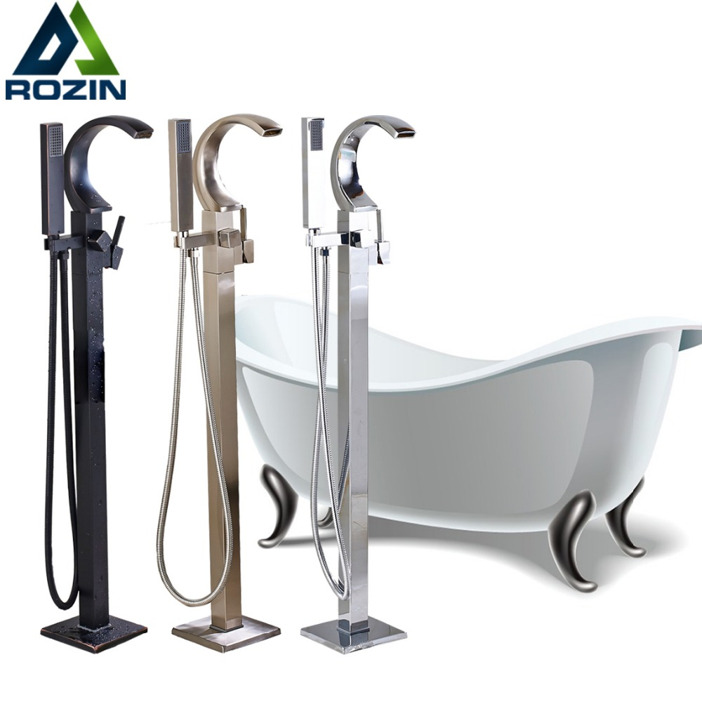Luxury Black Floor Mounted Bathtub Mixers Tub Sink Faucet Single Lever Waterfall Spout Clawfoot Faucet Tap with Handshower