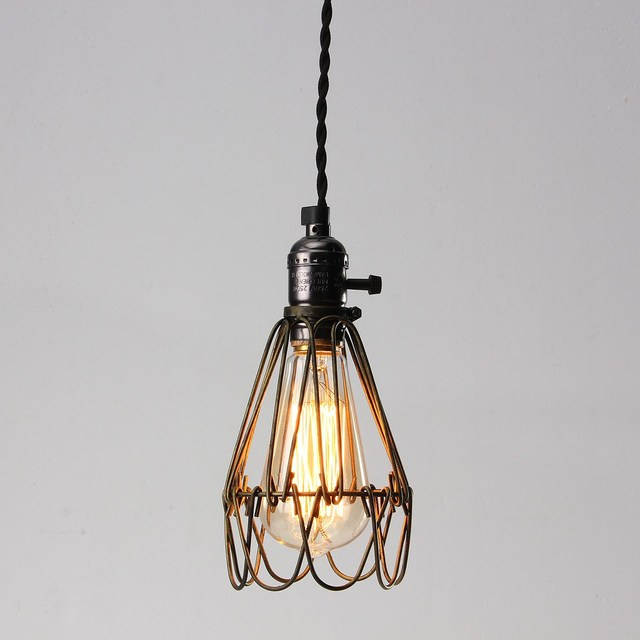 Lamp Cover Retro Vintage Industrial Pendant Light Bulb Guard Wire ...