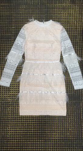 Longues Hiver Bandage À Partie Club Vintage Moulante Nuit Plumes Blanc De Mode Sexy Manches Haute Qualité Robe kOPXn80w
