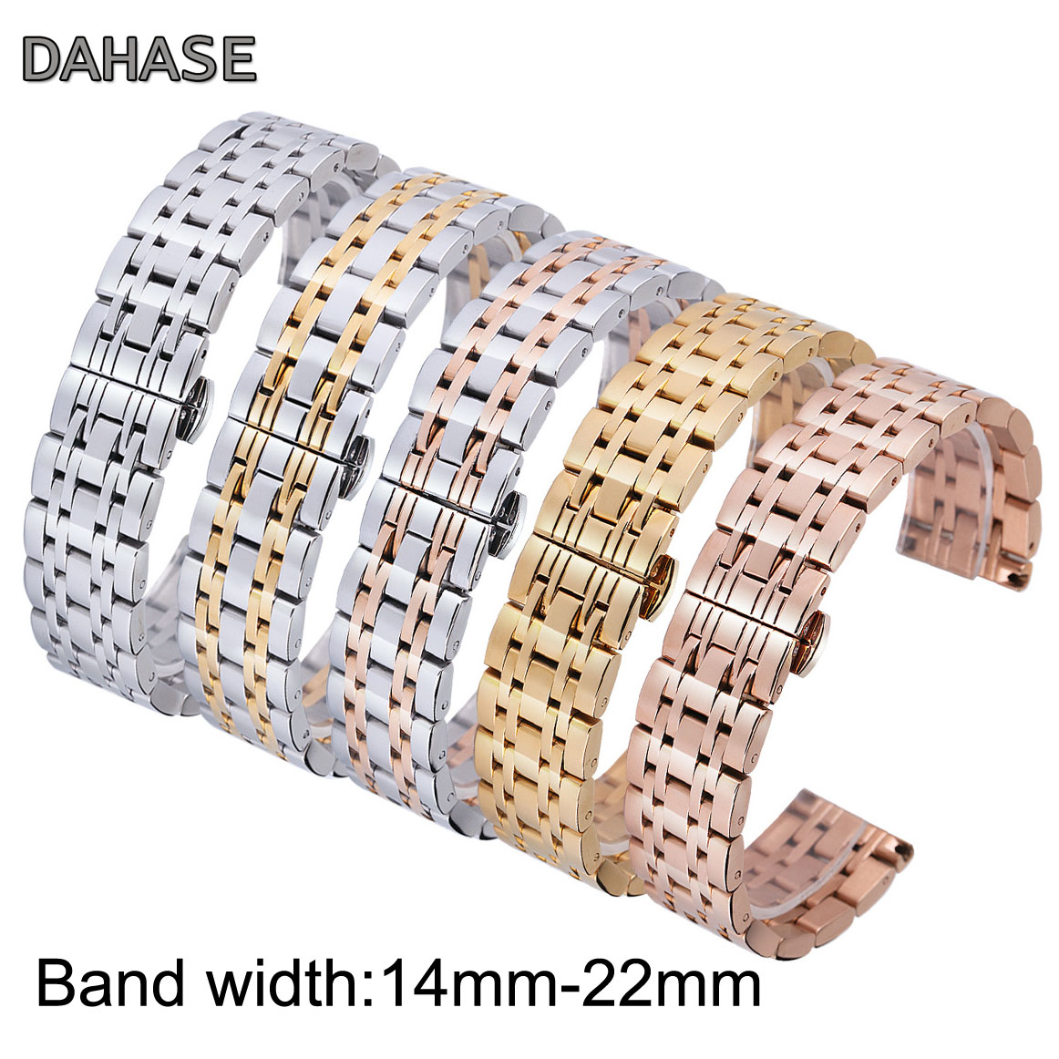 7-beads 14mm 16mm 18mm 20mm 22mm Stainless Steel Watch Band Solid Butterfly Buckle Metal Strap Smart watch Wristband Belt OL7Z цена 2017