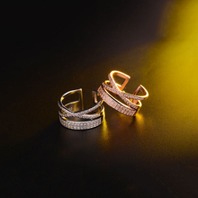 With Opening Ring Double Cross Knuckle Charm Jewelry Hollow Simple Rings Punk Silver Gold Color Ring For Women Female Finger