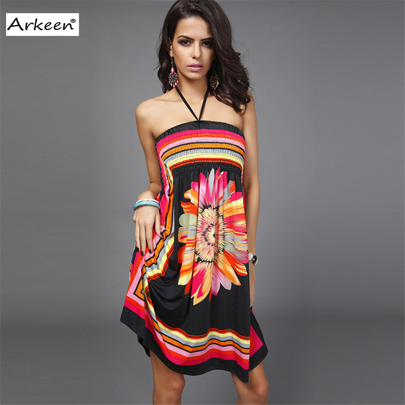 Bohemian Floral Strapless Short Dress Women 2017 Backless Off Shoulder  Social Party Kleider Sun Flower Ukraine Clothing Dashiki-in Dresses from  Women's ...