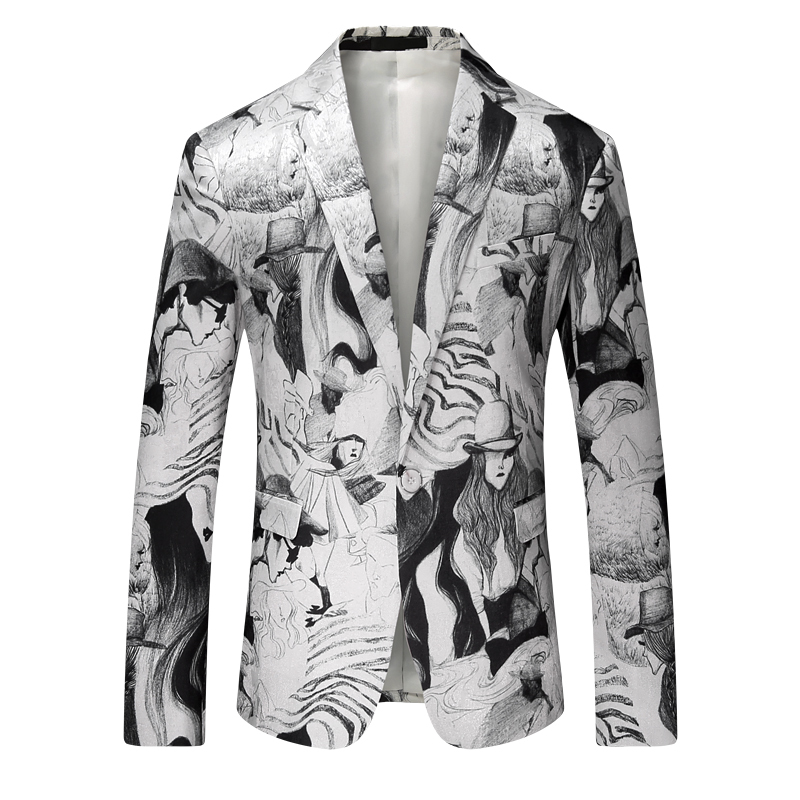 Face Printed Men Blazer Slim Fit Suit Jacket Men Blazer Masculino Vetement Homme 2018 Plus Size Party Club Prom Blazer 4xl
