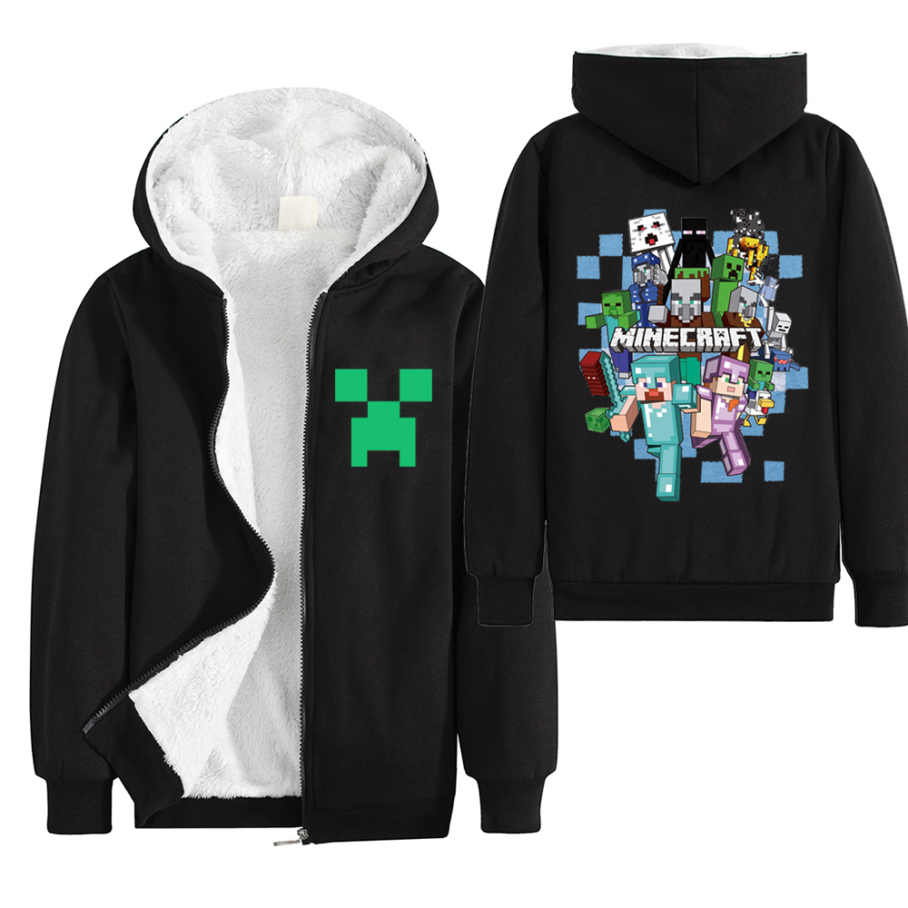 Minecraft Jacket Sweatshirts Hoodies Long-Sleeve Zipper Toddler Baby Boys Winter Thicken