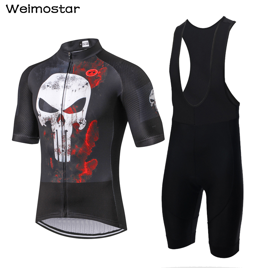 Weimostar Men s Summer Breathable Cycling Jersey and 3D Padded Bib Shorts Set Outfit Black Punisher
