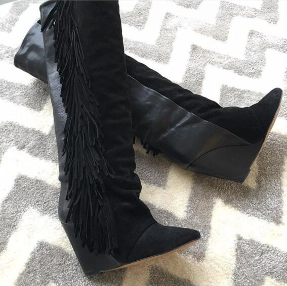 2018 Spring New Fashion Sexy Pointy Toe Ladies Wedge Heel Boots Fringe Boots Suede Leather Patchwork Women Knee High Boots цена