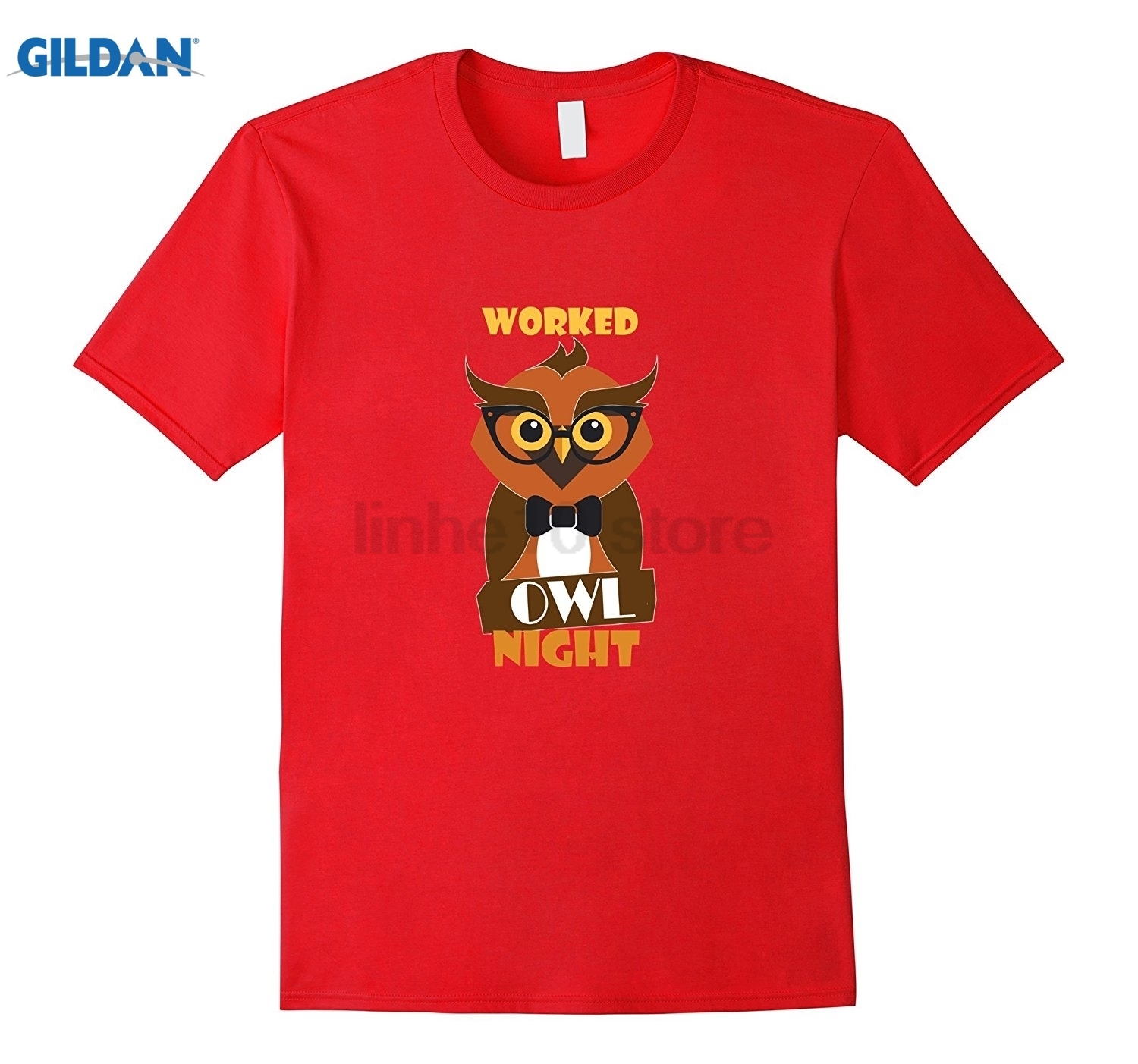 GILDAN Owl T-Shirt, Night Shift Worker Cute Humorous Freelancer Tee Womens T-shirt