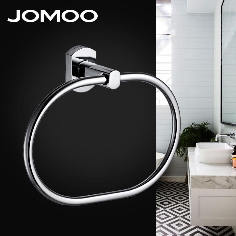 JOMOO Towel Ring Round Shape Wall Mounted Washcloth Holder Hanger Zinc Alloy Bathroom Accessories Chrome Bath Towel Bar pea shape zinc alloy oil lighter yellow green