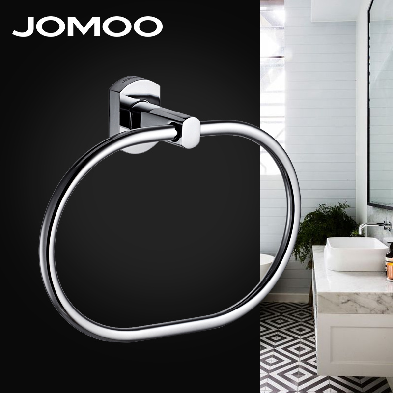JOMOO Anti-rust Towel Ring Round Shape Chrome Finished Wall Mounted Stainless Steel Towel Ring Bathroom Towel Bar