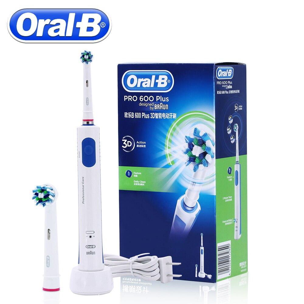 Oral B Перезаряжаемые Электрический Зубная щётка PRO600 плюс 3D Cross Action отбеливание зубов вращающийся Ультразвуковой Электрический Toothes кисть
