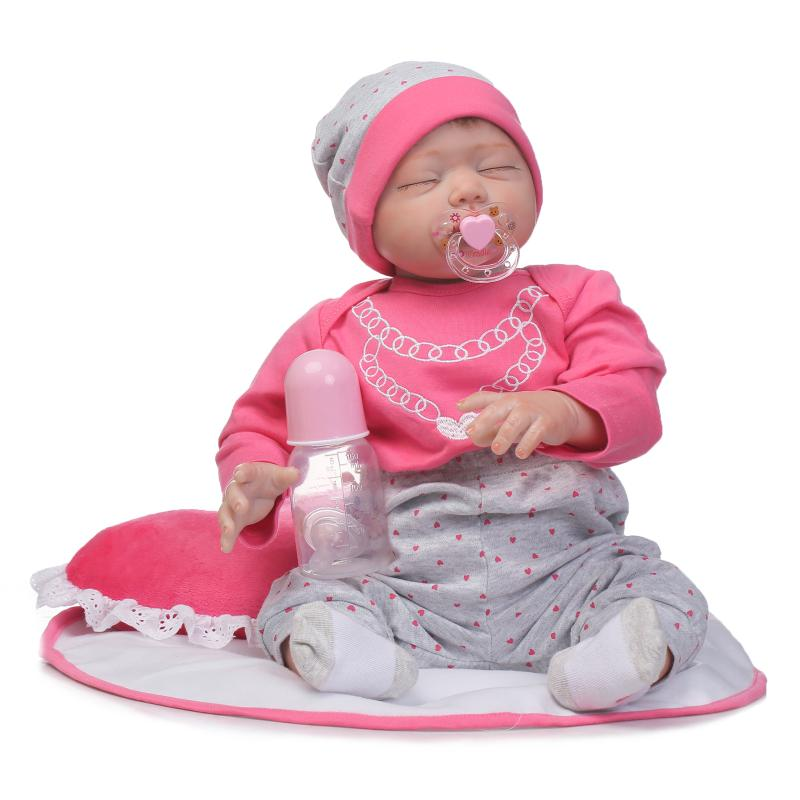 22 lifelike doll reborn for girls toys gift silicone baby dolls with pillow magnetic pacifier bottle bebe real reborn bonecas 22 lifelike doll reborn for girls toys gift silicone baby dolls with pillow magnetic pacifier bottle bebe real reborn bonecas