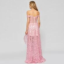 فستان سهرة أنيق بدون اكتاف قصير من الأمام بلون مذهل