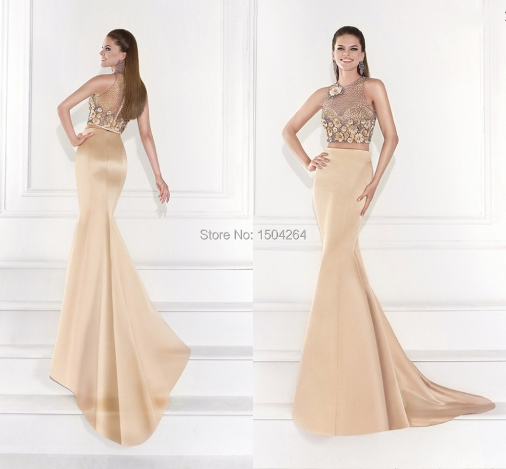 6547152c1d7 Champagne Evening Dresses With Jacket Long Mermaid Evening Gown Beading Formal  Night Dress Flower Pageant Gowns Hot Trend 2015