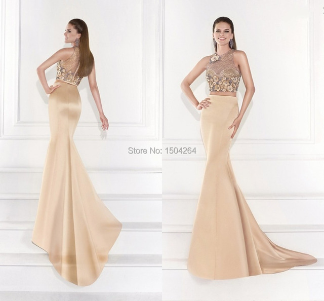2c3320e8cfaa Champagne Evening Dresses With Jacket Long Mermaid Evening Gown Beading Formal  Night Dress Flower Pageant Gowns Hot Trend 2015