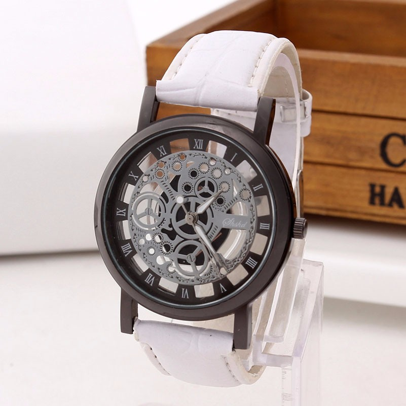 Skeleton Watch Engraving Hollow with White Leather Band