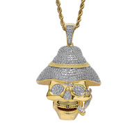 Men Hip Hop Iced Out Pirates of The Caribbean Skull Pendant Halloween Cosplay CZ Chain 18K Gold Plated Jewelry Necklace