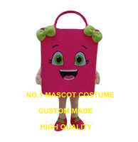 Pink Shopping Bag Mascot Costume Adult Size Cartoon Paper Bags Theme Shopping Costumes Advertising Carnival Fancy