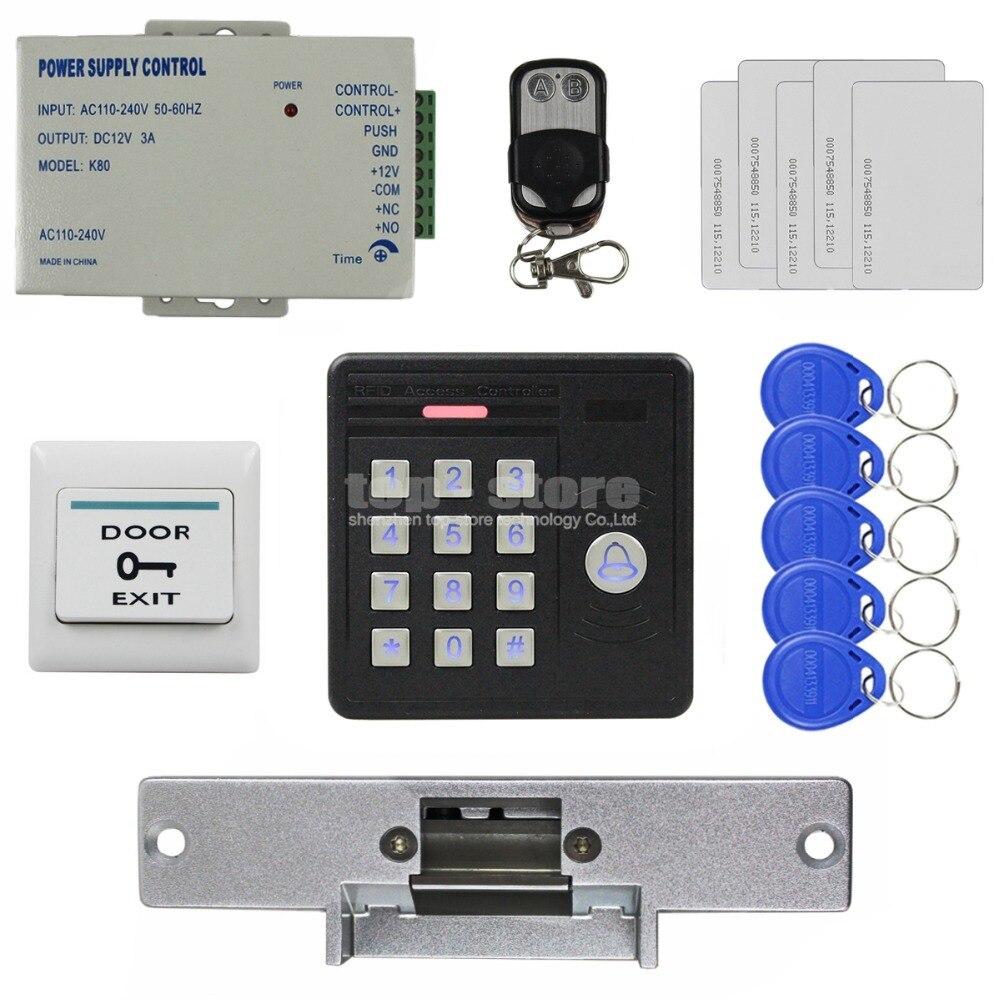 DIYSECUR Waterproof 125KHz Rfid Card Reader Password Keypad + Strike Lock + Remote Control Access Control Security Kit KS159 usb pos numeric keypad card reader white