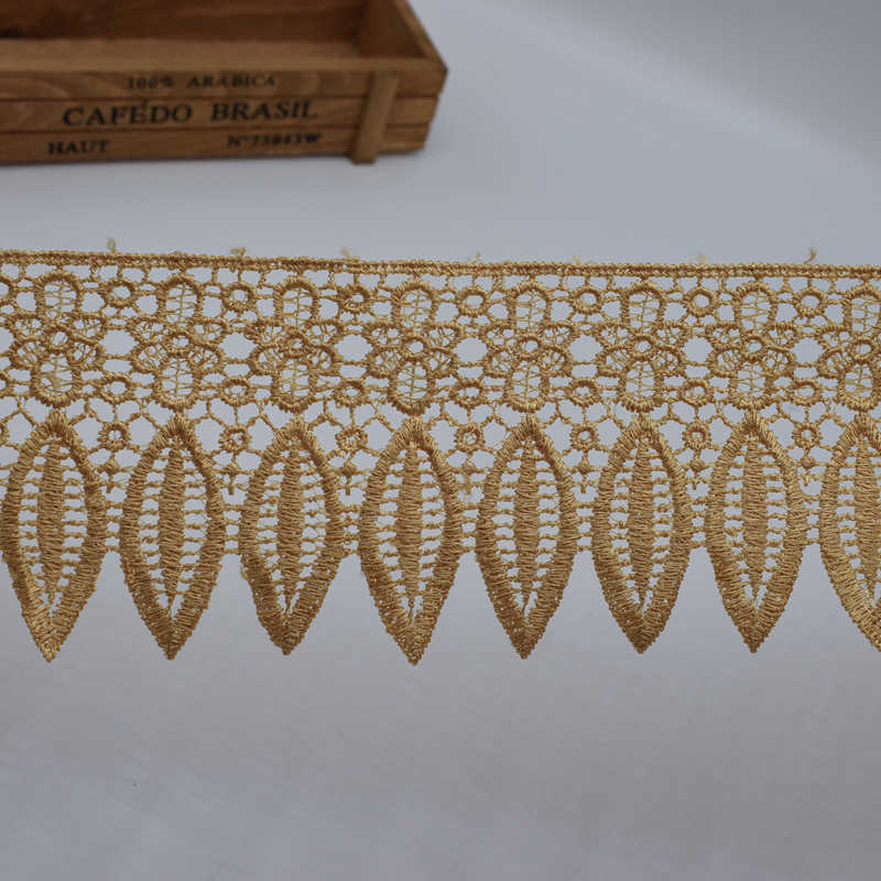 1 yard haak borduurwerk kant trim lint blad 90mm breed DIY borduurwerk Afrikaanse stijl decoratieve borduurwerk applique
