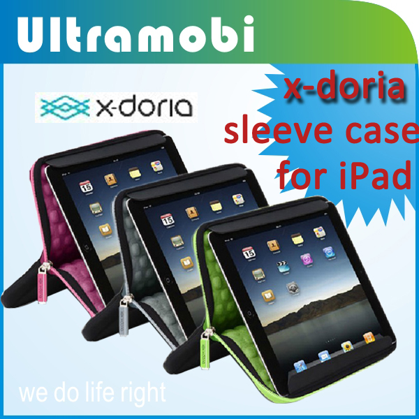 "x-doria sleeve case wtih stand and anti-shock function for iPad or 9.7""  tablets high quality Nylon material business style"