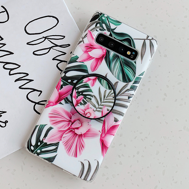 Art Leaf Flower Case For Samsung Galaxy S8 S9 S10 S20 Plus S10e S20 Ultra Note 10 Plus Silicone Coque With Holder Stand