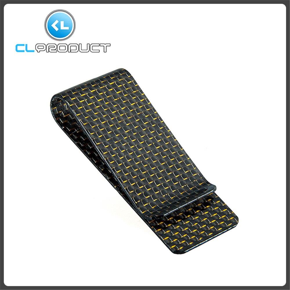 Carbon Fiber Money <font><b>Clip</b></font> Gold Glossy M size - Genuine 3K Twill- Credit Card Business Wallet Money <font><b>Clips</b></font>