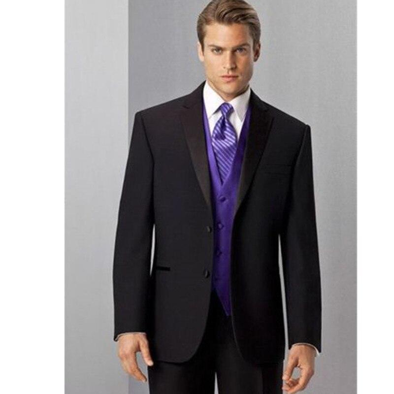 Men's suits New Custom Made Black Men Suit costume homme Purple Vest Wedding Suits Groomsmen Tuxedos 2017 terno masculino