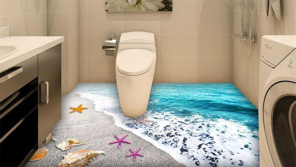 ФОТО 3d pvc flooring wallpaper custom photo floor wall sticker 3D seashell  sand 3d wall murals wallpaper room decoration painting