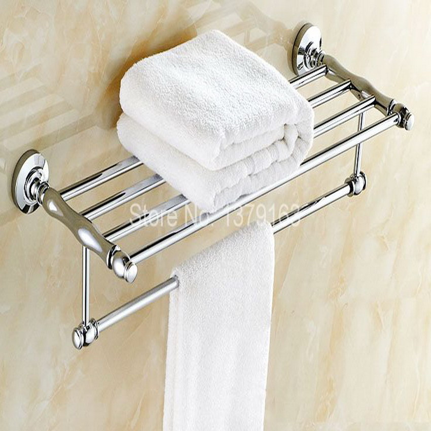 Bathroom Accessory Polished Chrome Wall Mounted Bathroom Large Towel Rail Holder Storage Rack Shelf Bar aba801 towel racks wall mounted bathroom towel double stainless steel rail holder shelf storage rack bar bathroom tools